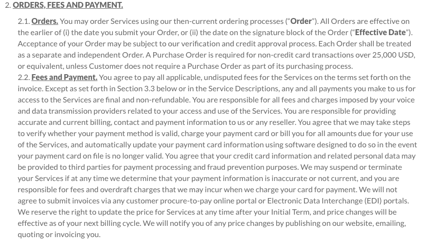 LogMeIn Terms and Conditions: Orders Fees and Payment clause excerpt