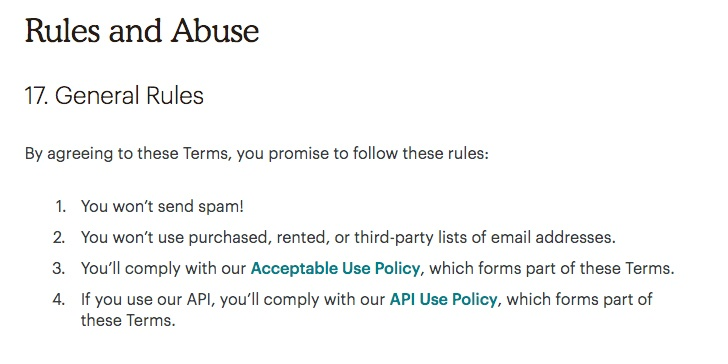 Mailchimp Standard Terms of Use: Rule and Abuse clause excerpt