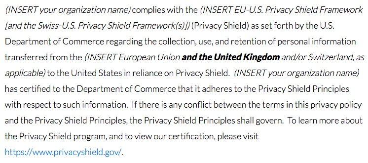 Privacy Shield Framework: UK FAQs - Public commitment sample clause