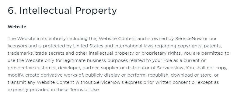 ServiceNow Terms of Use: Intellectual Property - Website clause excerpt