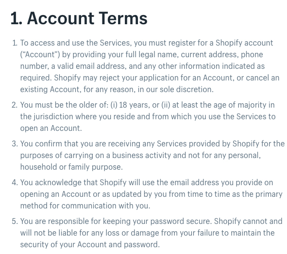 Shopify Terms of Service: Account Terms clause excerpt