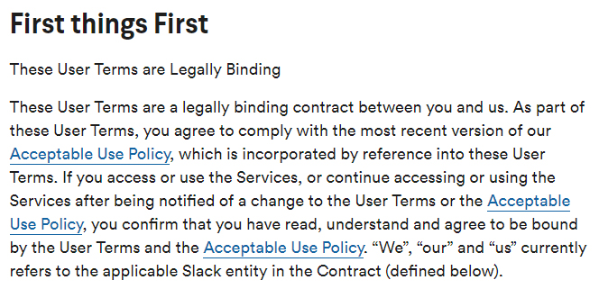 Slack User Terms of Service: Terms are Legally Binding clause