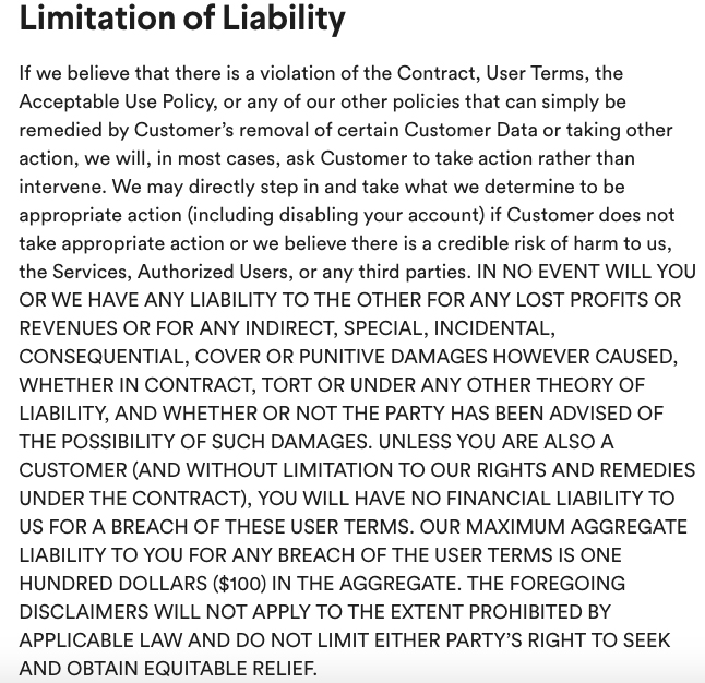 Slack User Terms of Service: Limitation of Liability clause