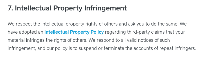 Square Terms of Service: Intellectual Property Infringement clause