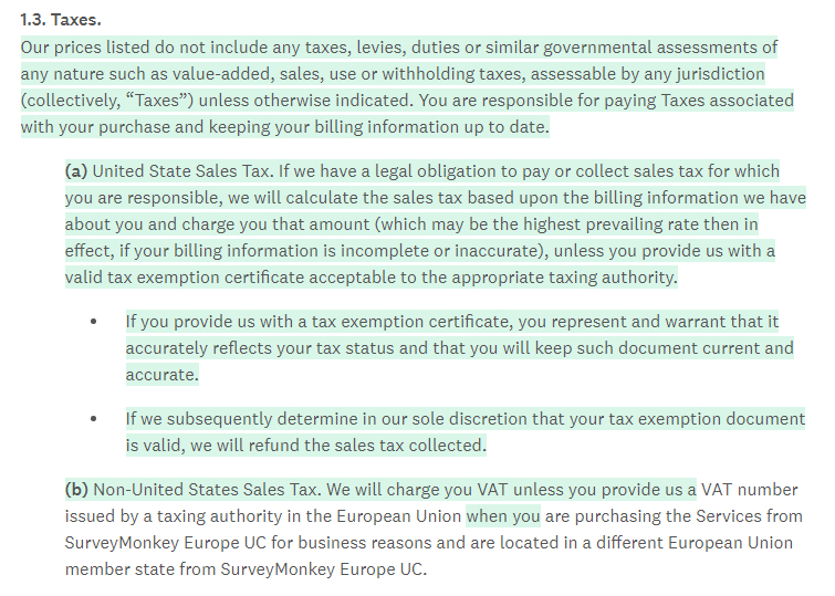 SurveyMonkey Terms of Use: Taxes clause