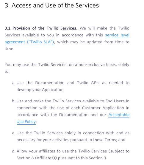Twilio Terms of Service: Access and Use of the Services clause