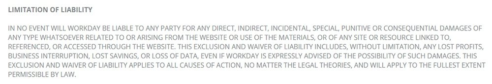 Workday Terms of Use: Limitation of Liability clause