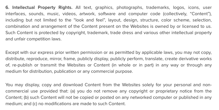 Zendesk Website Terms of Use: Intellectual Property Rights clause