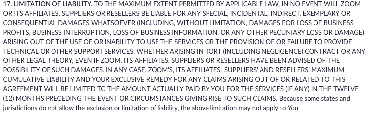 Zoom Terms of Service: Limitation of Liability clause