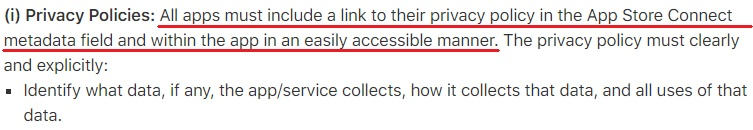 Apple App Store Review Guidelines: Privacy Policies clause - Link Required excerpt