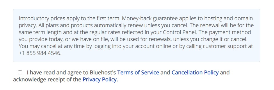 Bluehost sign-up notification with checkbox to agree to Terms and Privacy Policy