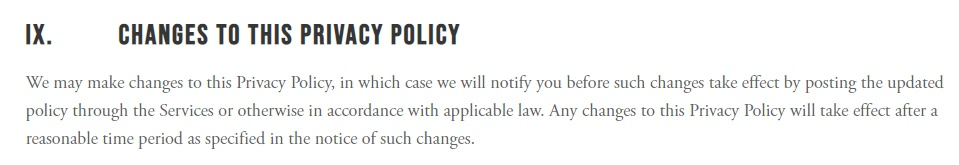 Choices Privacy Policy: Choices clause