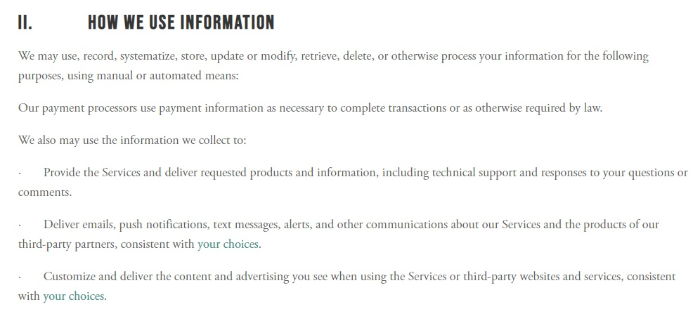 Choices Privacy Policy: How we use information clause excerpt