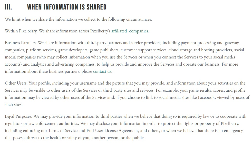 Choices Privacy Policy: When information is shared clause excerpt