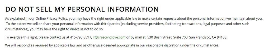 Screenshot of Crescent Cove Do Not Sell My Personal Information page