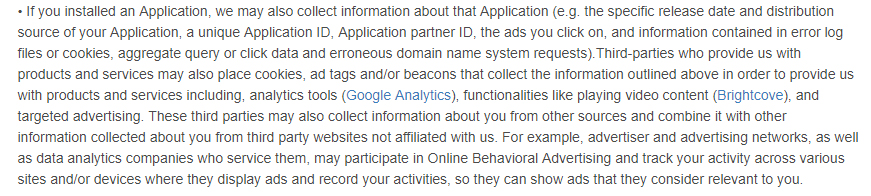 Dictionary com Privacy Policy: Information collected via automated technologies and interactions clause excerpt