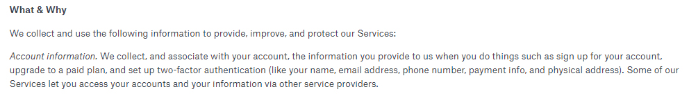 Dropbox Privacy Policy: Account information excerpt of What and Why information is collected clause