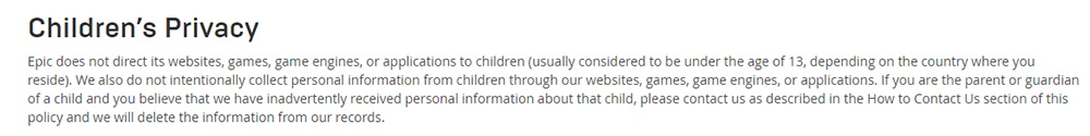 Epic Games Privacy Policy: Childrens Privacy clause