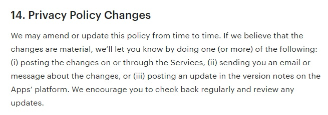Etsy Privacy Policy: Changes clause