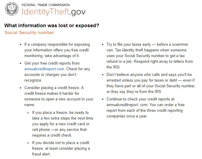 FTC Identity Theft data breach recommendations tips list