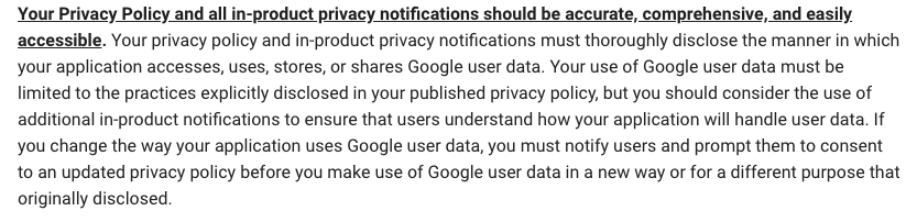 Google API Services User Data Policy: Accurate, comprehensive and accessible requirement clause