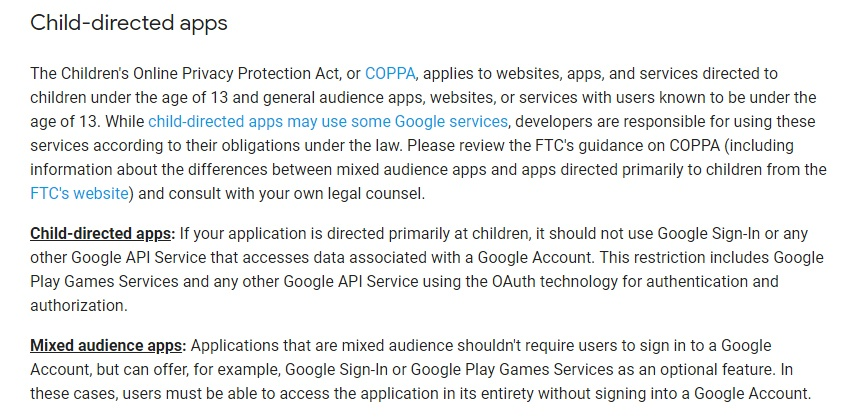 Google API User Data Policy: Child-directed apps - COPPA requirements section