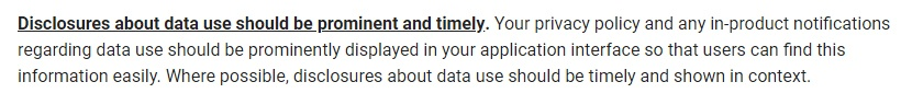 Google API User Data Policy: Prominent and timely disclosure requirement section