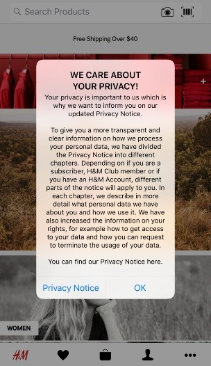 H and M mobile: Updated Privacy Notice pop-up