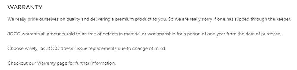 Joco Terms: Warranty clause
