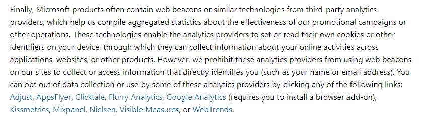 Microsoft Privacy Statement: Web beacons and third party analytics clause
