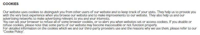 Nasty Gal Privacy Notice: Cookies clause