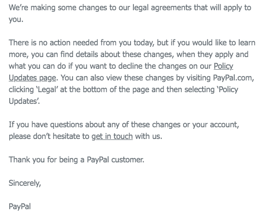 PayPal email for Privacy Policy updates