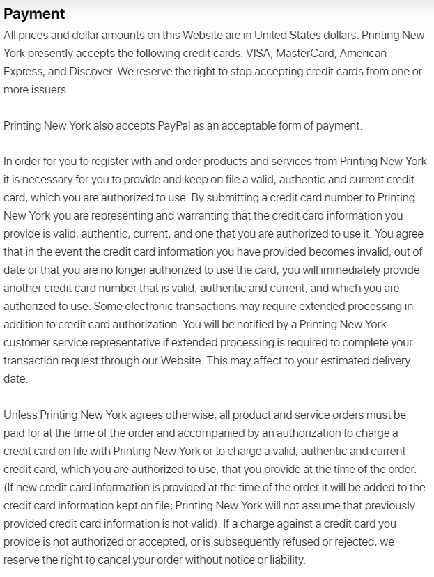 PrintingNewYork Terms and Conditions: Payment clause
