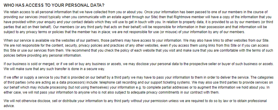 Rightmove Privacy Policy: Third party - Who has access to your personal data clause