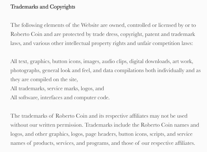 Roberto Coin Terms of Use: Trademarks and Copyrights clause