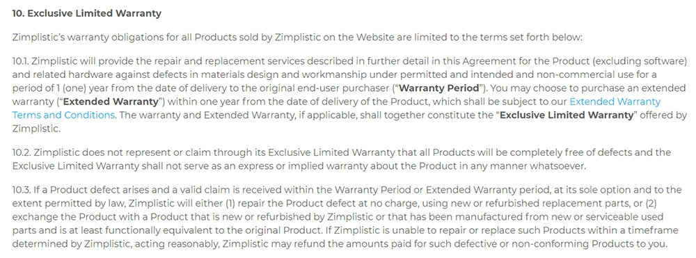 Rotimatic Terms of Sales: Excerpt of Exclusive Limited Warranty clause