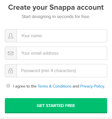 Snappa Create Account form with checkbox to agree