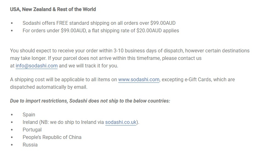Sodashi Shipping and Guarantees Policy: International shipping clause excerpt