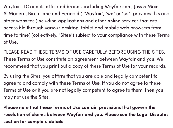Wayfair Terms of Use: Intro clause