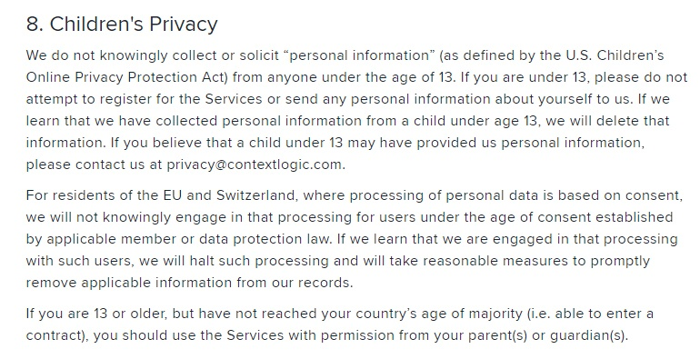 Wish app Privacy Policy: Childrens Privacy clause