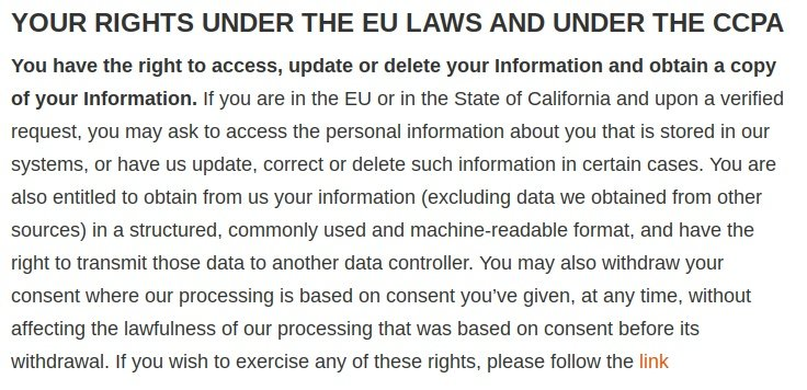Cellebrite Privacy Statement: Excerpt of Your Rights Under the EU Laws and Under the CCPA clause