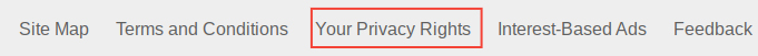 Costco website footer with links: Your Privacy Rights link highlighted