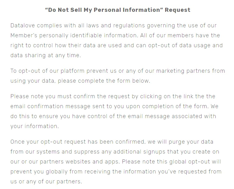 Datalove: Do Not Sell My Personal Information Request page