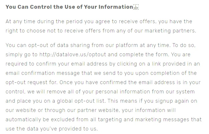 Datalove Privacy Policy: You Can Control the Use of Your Information - opt-out clause