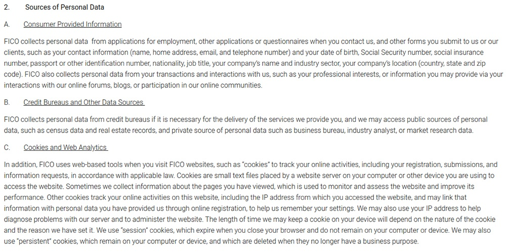 Fico Privacy Policy: Excerpt of Sources of Personal Data clause