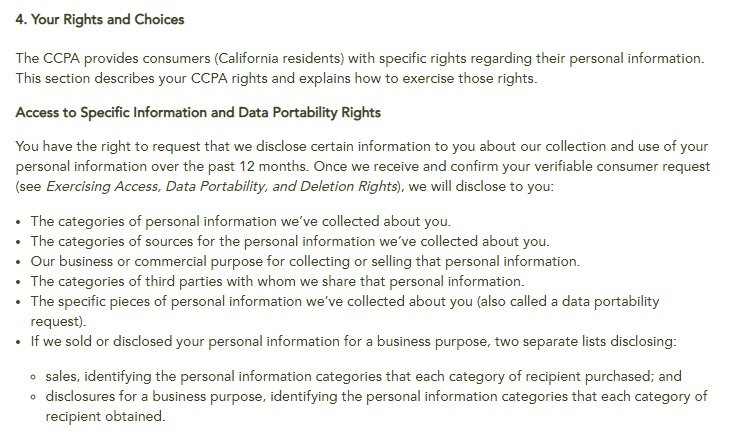 Hotel Cerro Privacy Notice for California Residents: Your Rights and Choices clause - Access to Specific Information and Data Portability Rights section