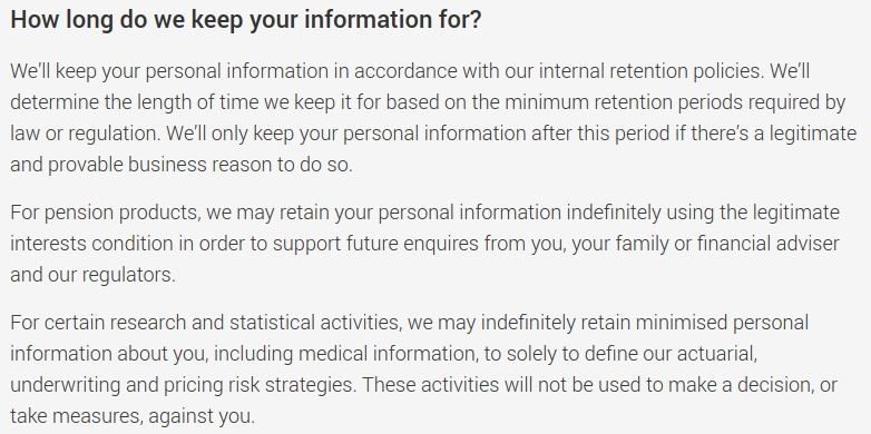 Legal and General Privacy Policy: Data retention clause