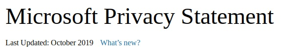 Microsoft Privacy Statement: Last Updated data and update link
