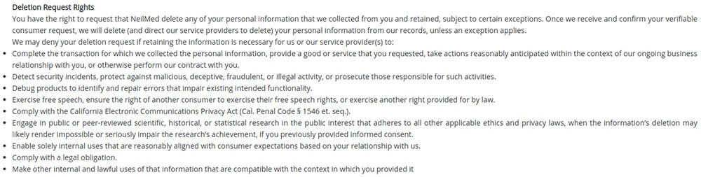 NeilMed CCPA Privacy Notice: Deletion Request Rights clause