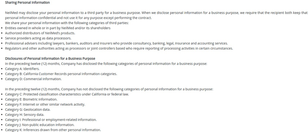 NeilMed CCPA Privacy Notice: Excerpt Sharing Personal Information clause